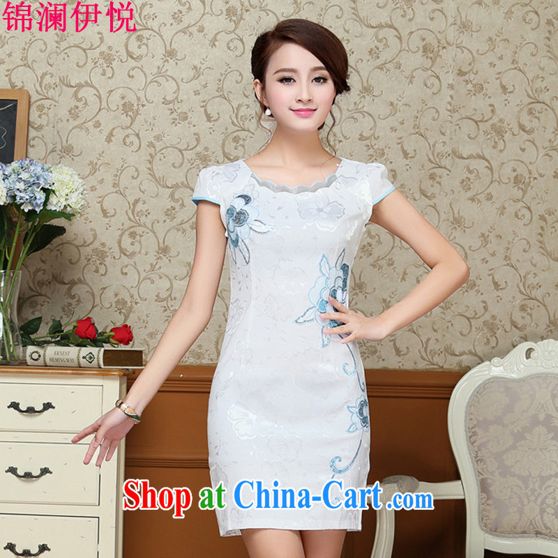 Kam-world the Hyatt 2015 new summer dress short-sleeved Korean Beauty Package dresses and embroidered petal collar dress light blue XXL
