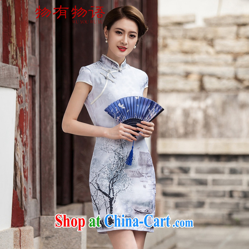 A Chinese China wind outfit summer 2015 new painting classic short-sleeved improved cheongsam dress XXL