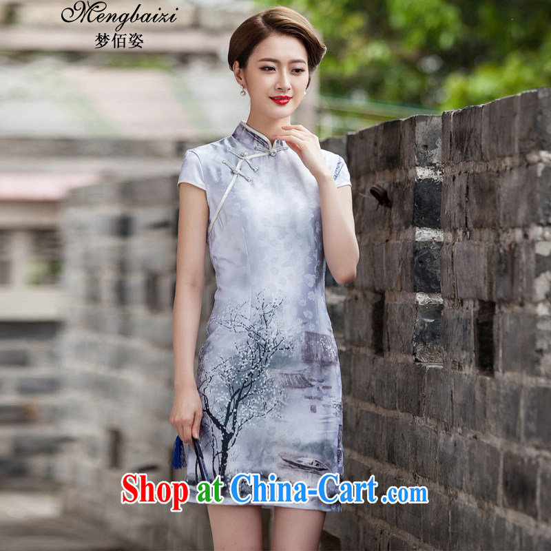 Wu Bai Dream City 2015 new painting classic short-sleeve cheongsam dress retro fashion China wind daily outfit QP 360 _painting S