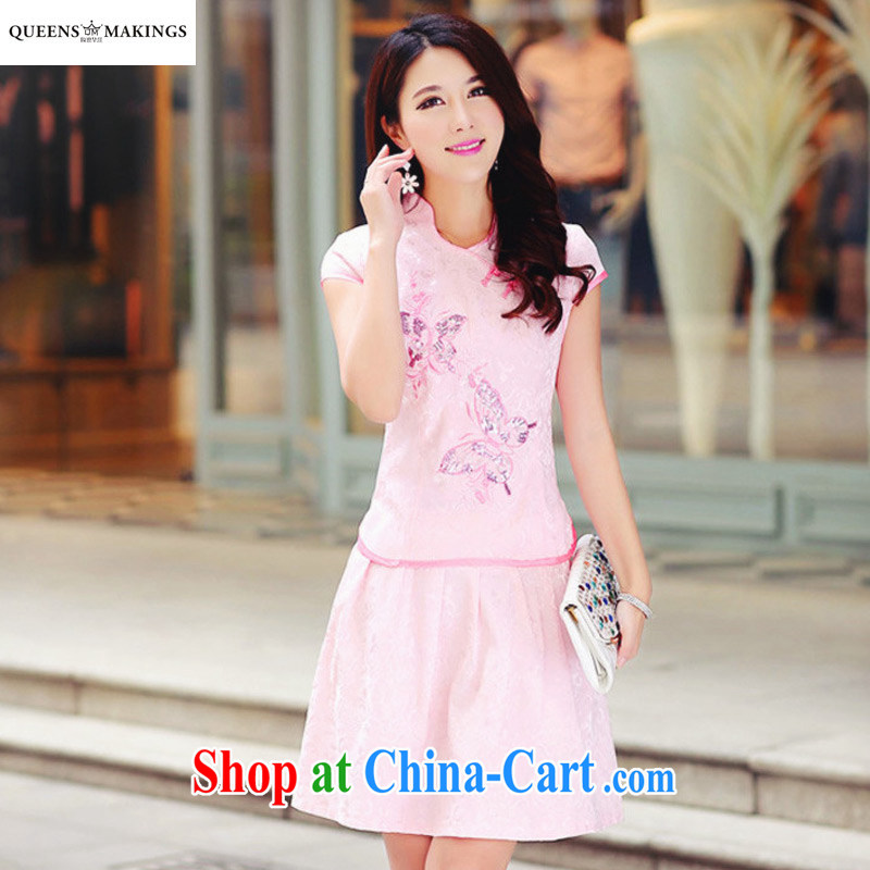 2015 summer new female Kit dresses and elegant retro fresh Chinese to Butterfly package dresses skirts 1609 pink XL