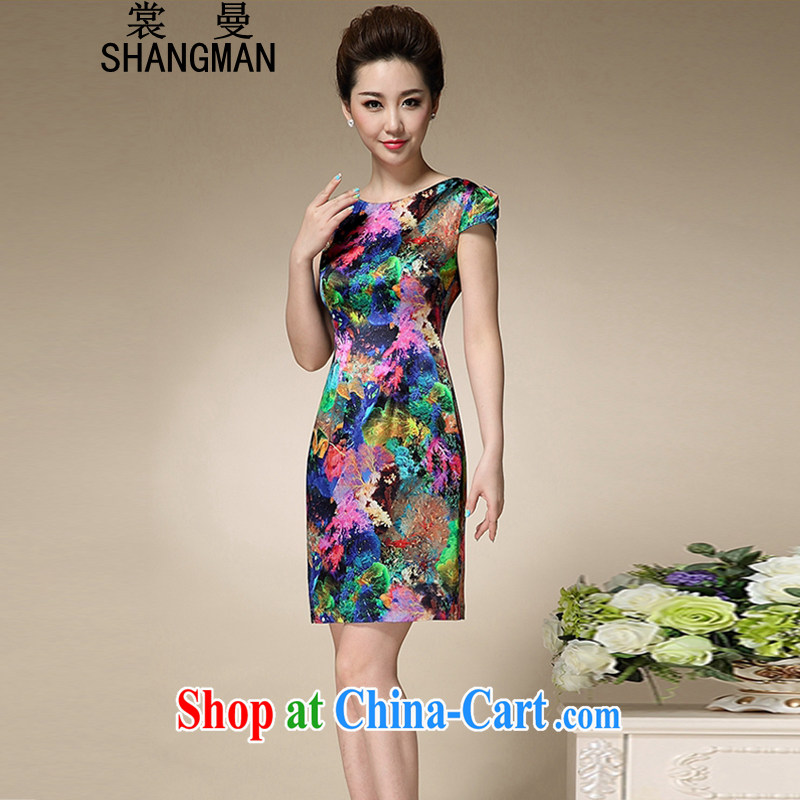 Advisory Committee Cayman 2015 summer new stamp duty round-collar short-sleeve mom with silk dresses beauty charm antique dresses blue stamp