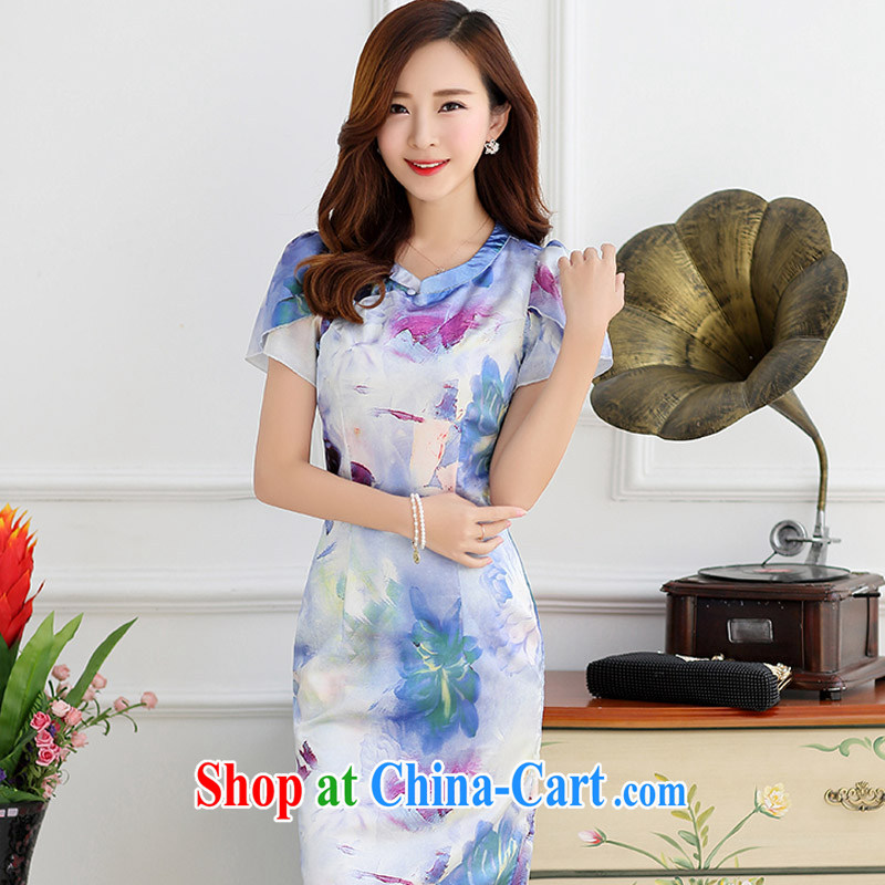 Optimize the Cayman yousiman summer 2015 new embroidery cheongsam dress girls improved daily packages and short-sleeved-waist stamp dress 9001 blue XXL