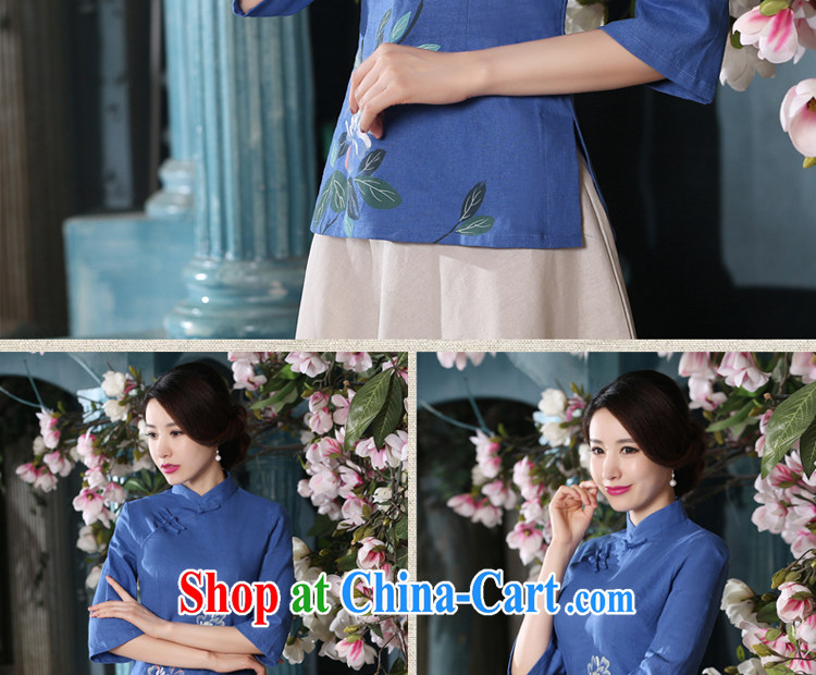 pro-am 2015 New Spring Summer Day retro style improved short blue cotton Ma dresses dresses T-shirt T-shirt + skirt XL pictures, price, brand platters! Elections are good character, the national distribution, so why buy now enjoy more preferential! Health