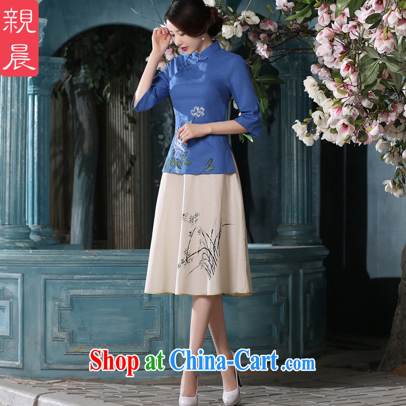 pro-am 2015 New Spring Summer Day retro style improved short blue cotton Ma dresses dresses T-shirt T-shirt + skirt XL