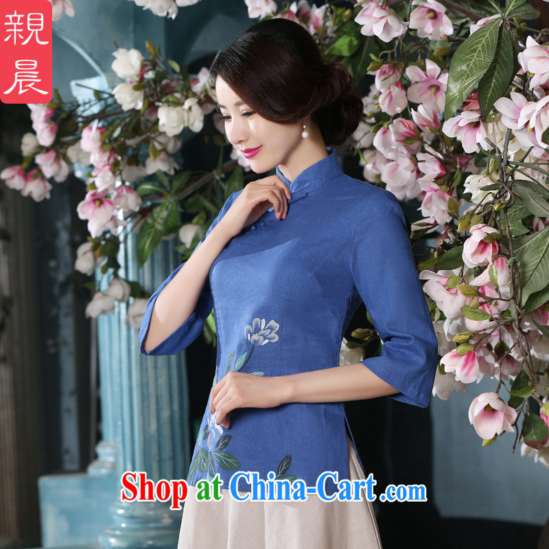 pro-am 2015 new spring and summer with daily retro style improved short blue cotton the dresses dresses T-shirt T-shirt + skirt XL, the pro-am, shopping on the Internet