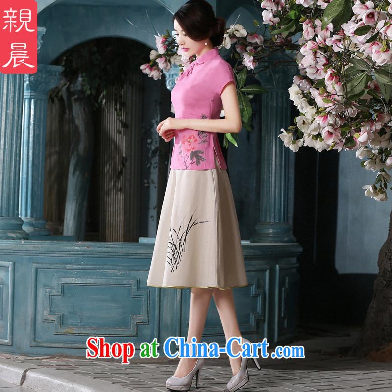 pro-am 2015 Spring Summer fashion short daily improved retro cotton Ma dress short-sleeved dresses T-shirt T-shirt + skirt S