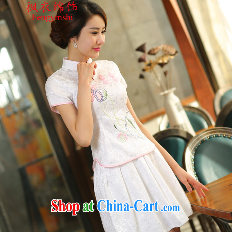Feng Yi cotton trim 2015 new beauty routine retro long sleeved improved stylish outfit two piece kit 1121 B 518 white short-sleeved XL .