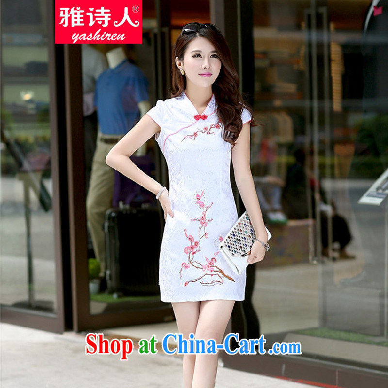 And Jacob poet 2015 new female summer embroidery cultivating the waist improved cheongsam retro sexy package and short-sleeved dresses female white XL