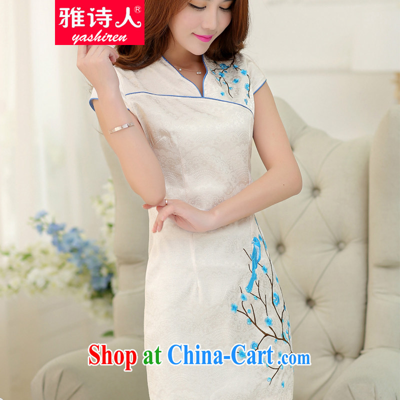 Poet, summer 2015 new ladies summer dresses are decorated with graphics thin improved Chinese elegant and stylish embroidered cheongsam dress dress white XL