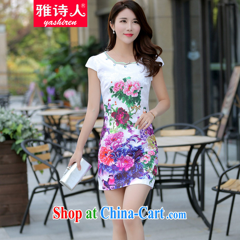 Jacob poet 2015 cheongsam dress summer new stamp dress retro China wind everyday dresses short-sleeved beauty graphics thin larger dresses white XXL
