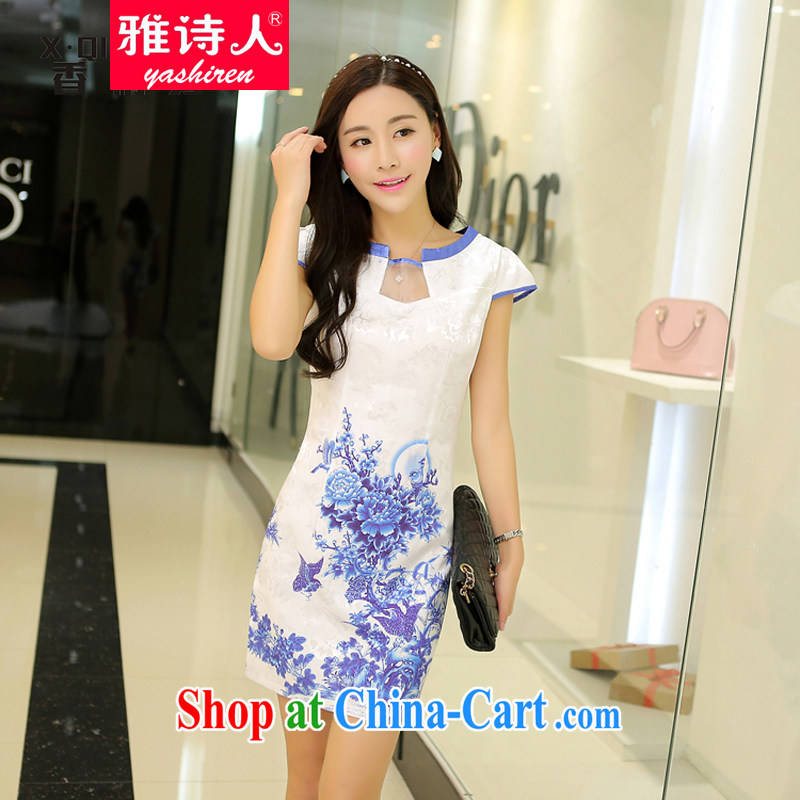 Jacob poet 2015 summer trade new high-end stamp cheongsam beauty graphics thin noble short-sleeve dress Women's dress code children with purple XL
