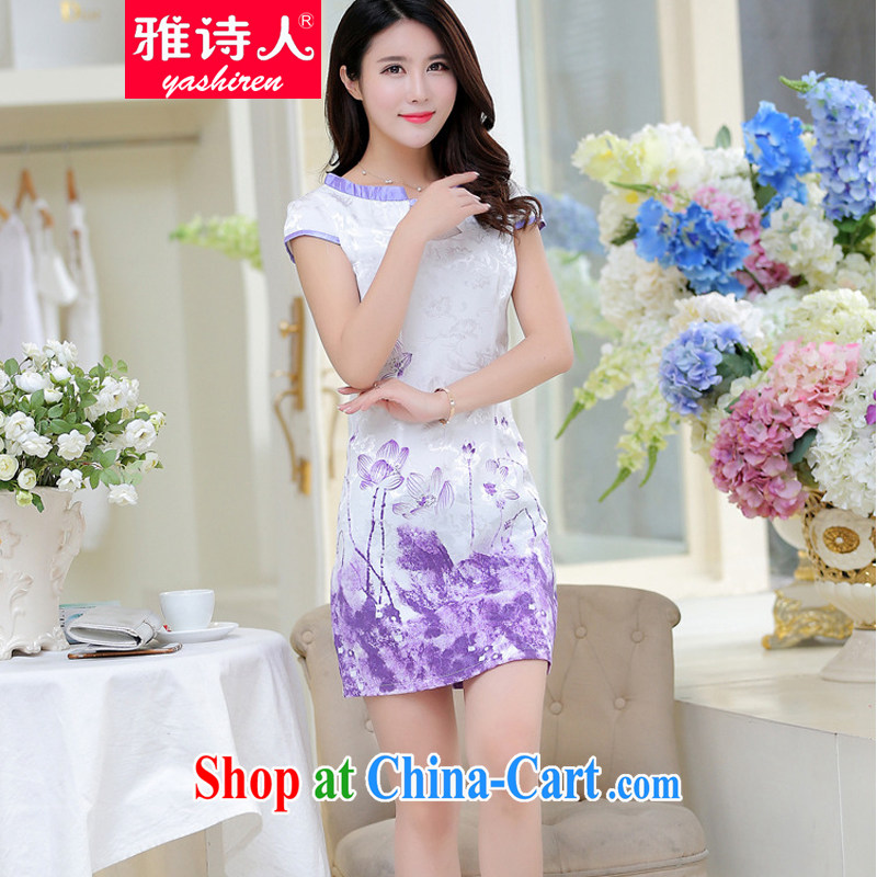 Poet, summer 2015 new stylish improved cheongsam girls digital stamp Korean Beauty graphics thin short-sleeve cheongsam dress female light purple XL