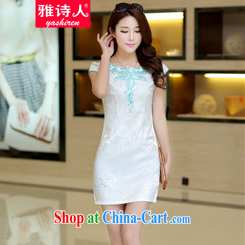 Poet, summer 2015 New Women Fashion beauty graphics thin daily retro improved elegant short-sleeve cheongsam dress dresses blue L