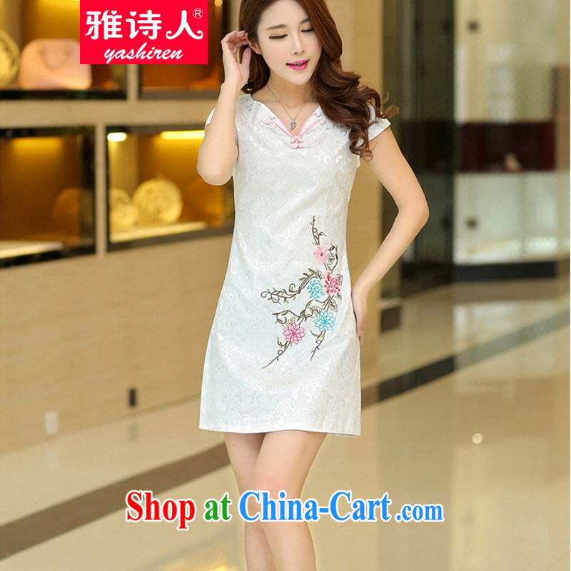 And Jacob poet 2015 summer dress New Beauty video thin dresses three-dimensional crop high-end embroidery cheongsam qipao day White XL
