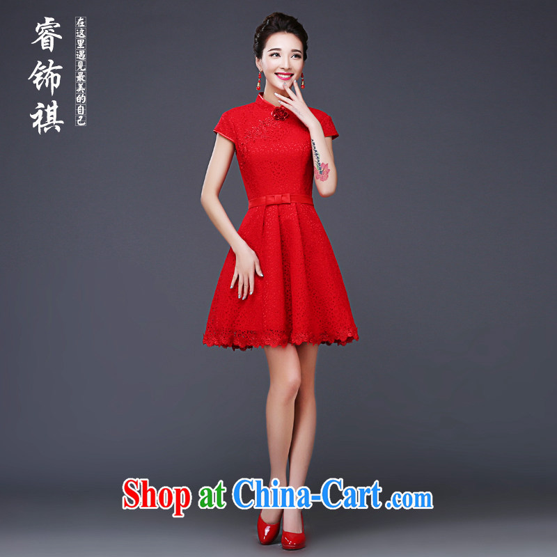 Mu Yao 2015 new Chinese mu Yao bridal summer high-end short-sleeved toast clothing dress short sexy lace mini dress red shaggy skirts the waist red XXXL brassieres 97 CM