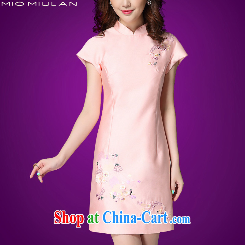 2015 summer new dresses and embroidery short sleeve and collar dresses high-end custom rayon Short package and temperament middle-aged mother with pink XL