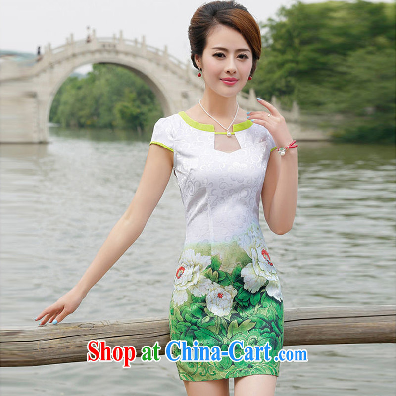 2015 female new Ethnic Wind Chinese Chinese stamp ink retro beauty charm graphics thin package and cheongsam dress green Peony flower M