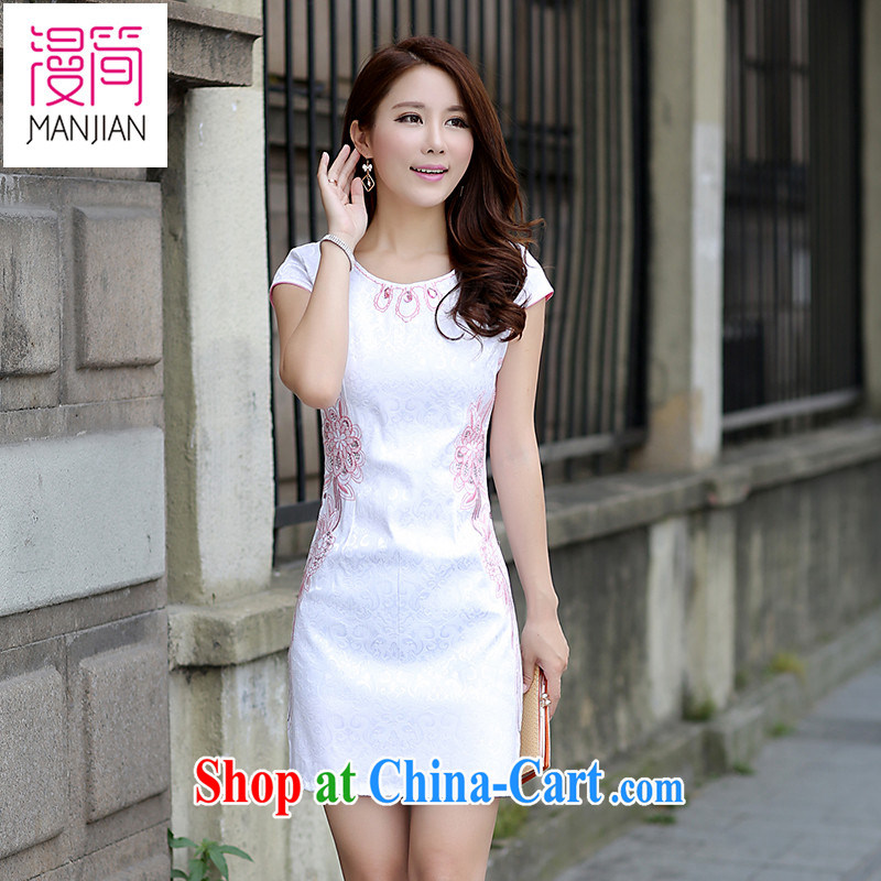 Animated short sleeve cheongsam dress name yuan style beauty everyday embroidery 2015 summer new Chinese Dress package and pink XL