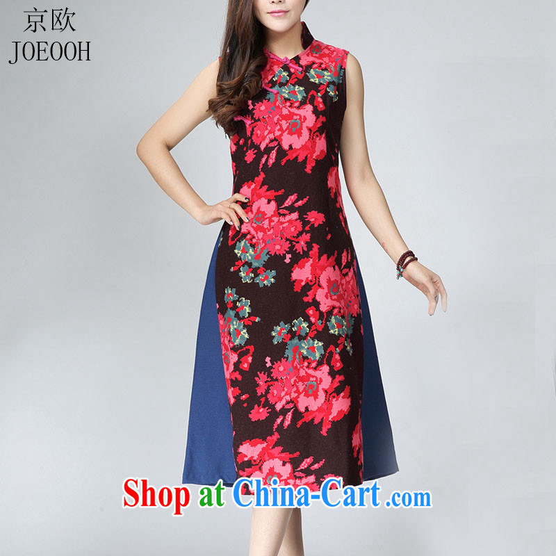 Putin's European Summer new cheongsam dress retro fashion improved cultivating cheongsam dress in long dresses female Red XL