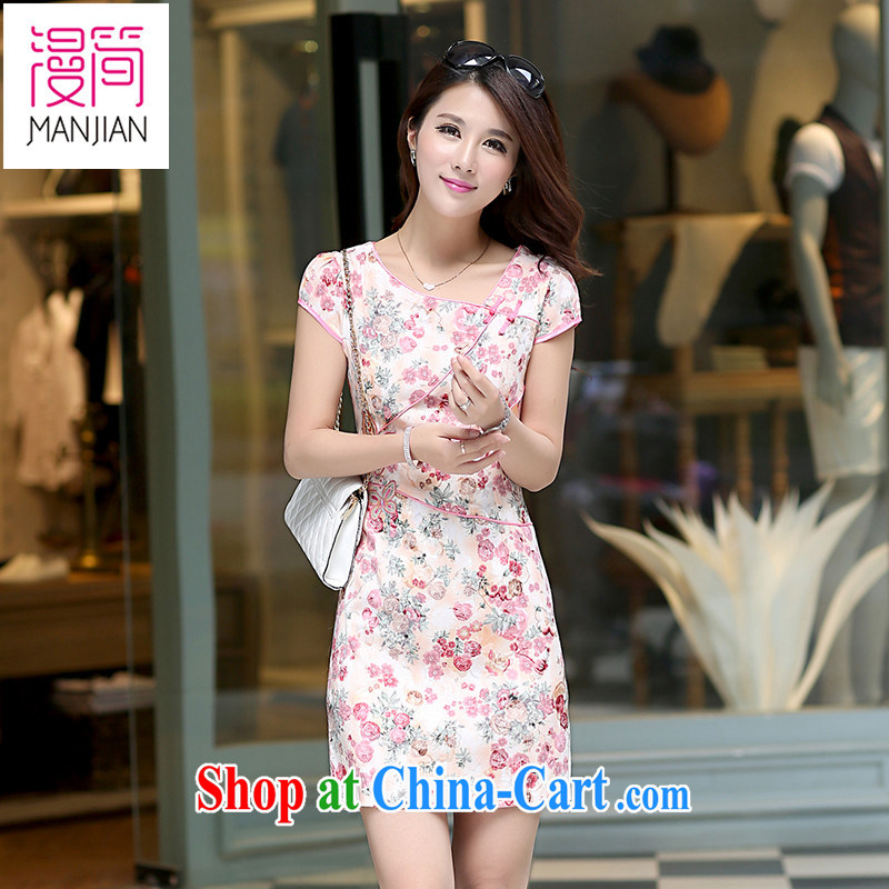 Animated short 2015 new summer short-sleeved dresses short skirts of Yuan retro daily improved cultivating ethnic wind dress pink XL
