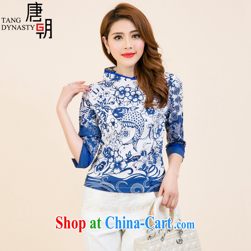 The Tang dynasty 2015 New National wind daily improved cheongsam 7 installed on the cuff Chinese stamp duty Chinese T-shirt girl Blue and White House silk stamp L