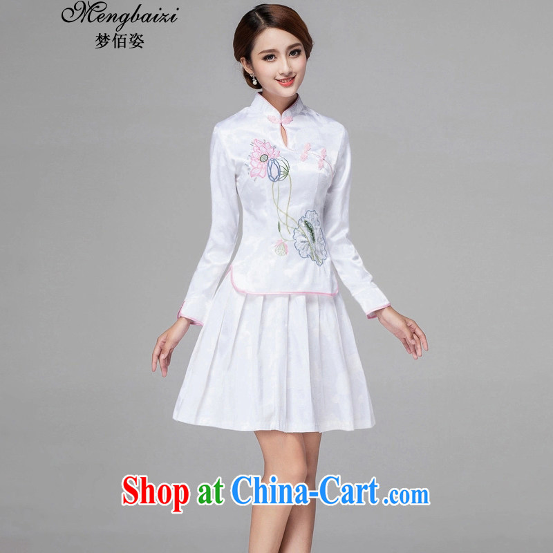 Let Bai beauty summer 2015 New Sau San Tong cheongsam with China wind spring and summer short-sleeve two-piece dresses dresses QP #364 white long-sleeved XL