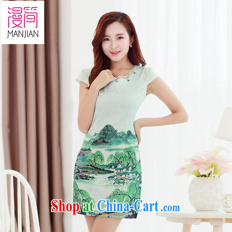 Animated short 2015 new summer Chinese Dress package and stamp antique ethnic wind daily short-sleeved improved cheongsam XXL mountains and rivers