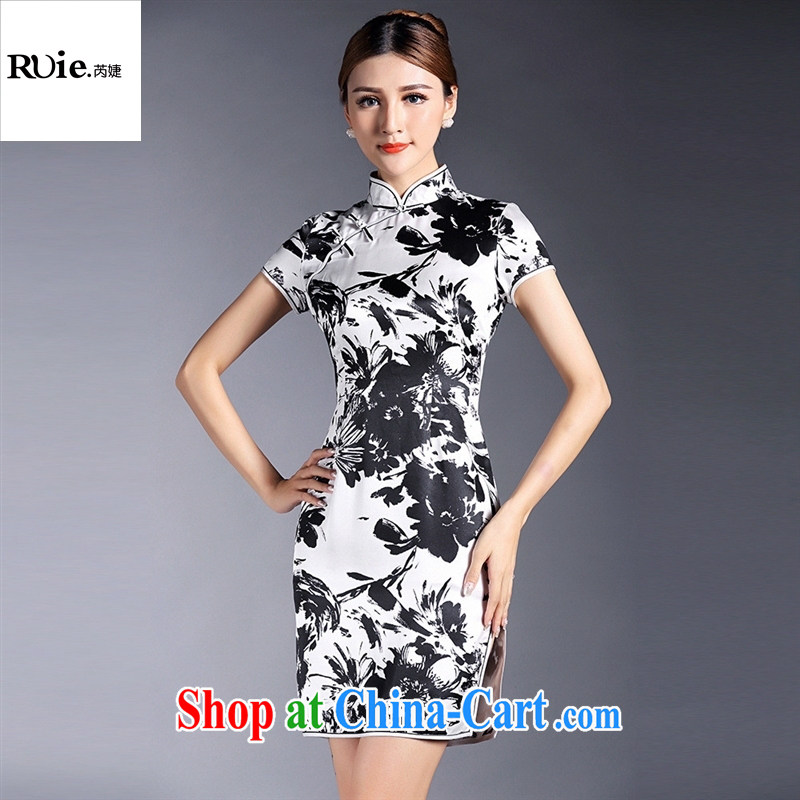 Summer 2015 new women with improved stylish silk stamp short sleeve cheongsam dress factory wholesale QF 140,511 black background XL