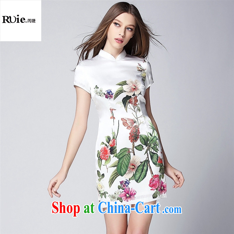 Summer 2015 new girls improved stylish silk stamp short cheongsam dress QF 150,368 white XL