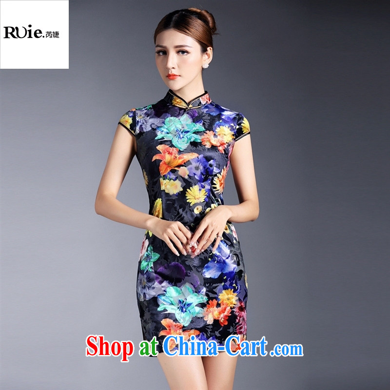 Summer 2015 new girls improved stylish flocking stamp short-sleeved short cheongsam dress QF 140,519 picture color XL