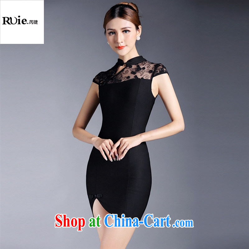 Summer 2015 new girls improved stylish lace stitching short-sleeved short cheongsam dress QF 140,524 black XL