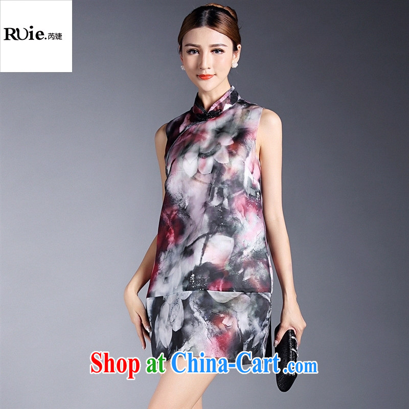 Summer 2015 new retro girls improved stylish stamp sleeveless cheongsam dress factory wholesale QF 140,522 black background XL