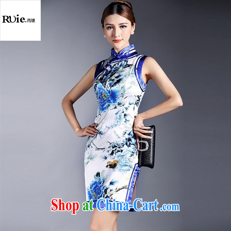 Summer 2015 new girls improved stylish silk stamp sleeveless short cheongsam dress QF 140,510 picture color XL