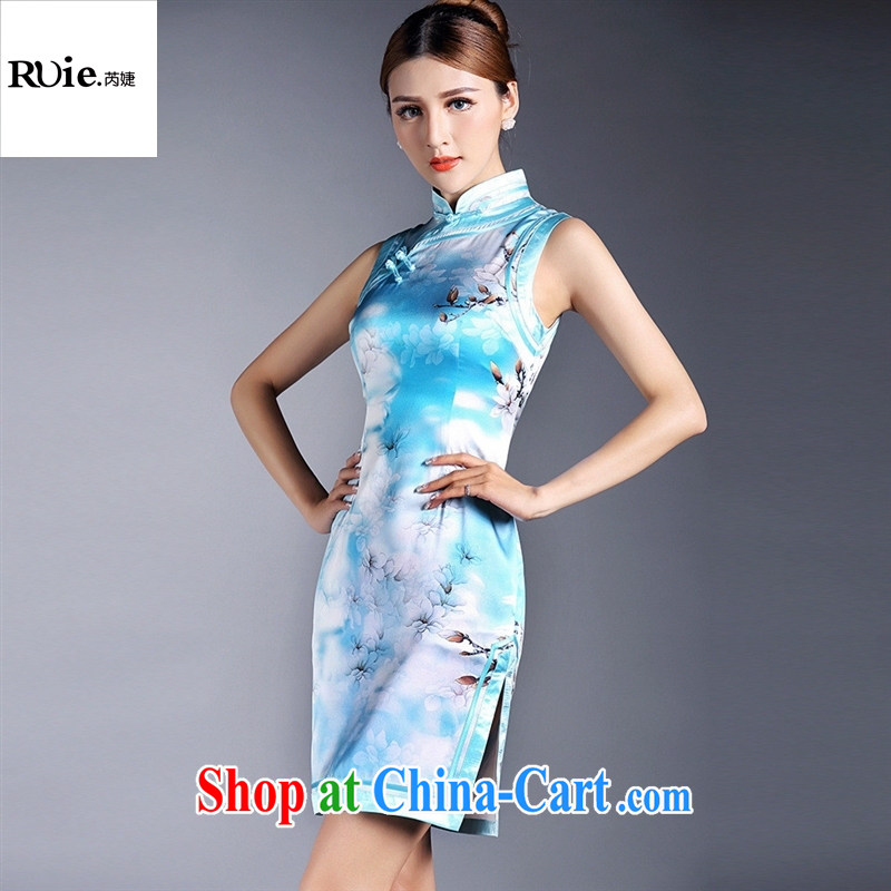 Summer 2015 new girls improved stylish silk stamp sleeveless short cheongsam dress factory wholesale QF 140,508 picture color XL