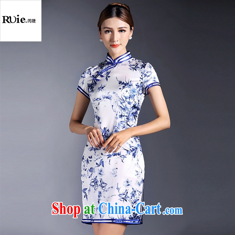 Summer 2015 new girls improved stylish blue and white porcelain stamp double-wrinkled short-sleeved short cheongsam dress QF 140,521 picture color XL