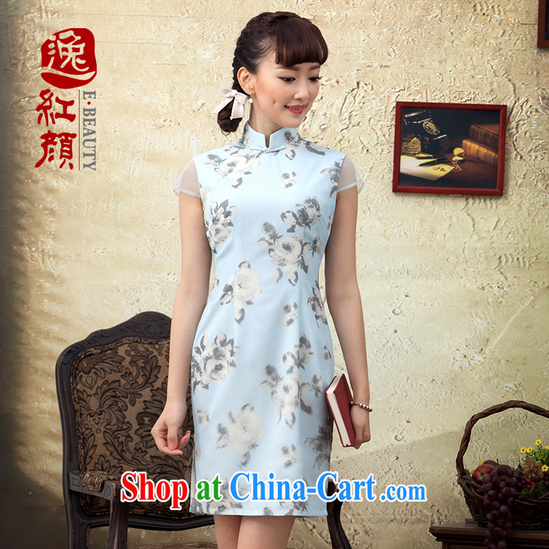 once and for all and fatally jealous animation spring 2015 new stamp improved cheongsam short spring day qipao dresses summer decoration, blue 2 XL