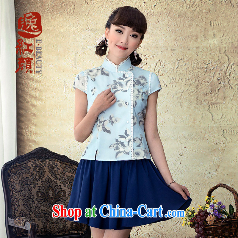 once and for all and fatally jealous picture spring China wind Chinese 2015 Ms. spring and summer National wind lady stamp outfit T-shirt retro blue XL