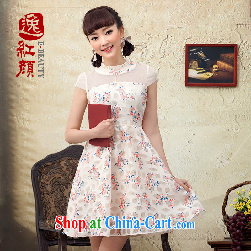 once and for all and fatally jealous Yuen-ying Ethnic Wind antique stamp dresses summer China wind and fresh style dress skirt beige 2 XL