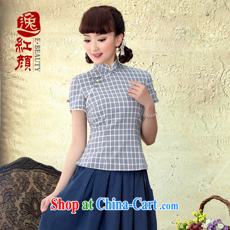 proverbial hero once and for all, let China wind cotton Chinese, ethnic wind women summer retro dresses T-shirt short-sleeved blue 5 22 future shipment M