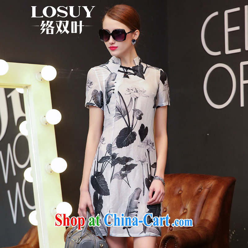 Contact us double-leaf 2015 summer New Silk Dresses beauty charm short-sleeved sauna silk retro Lotus stamp sauna Silk Cheongsam ink Lotus XL