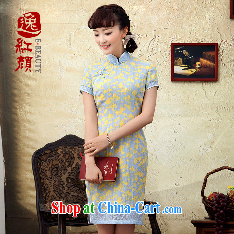 proverbial hero once and for all and Sweet Dreams 2015 new stamp improved cotton the cheongsam short summer and spring loaded daily cheongsam dress yellow 2XL