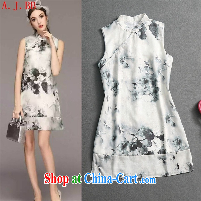 Black butterfly summer 2015 new sleek style big China wind cotton Ma Sau San painting Chinese qipao dresses gray L