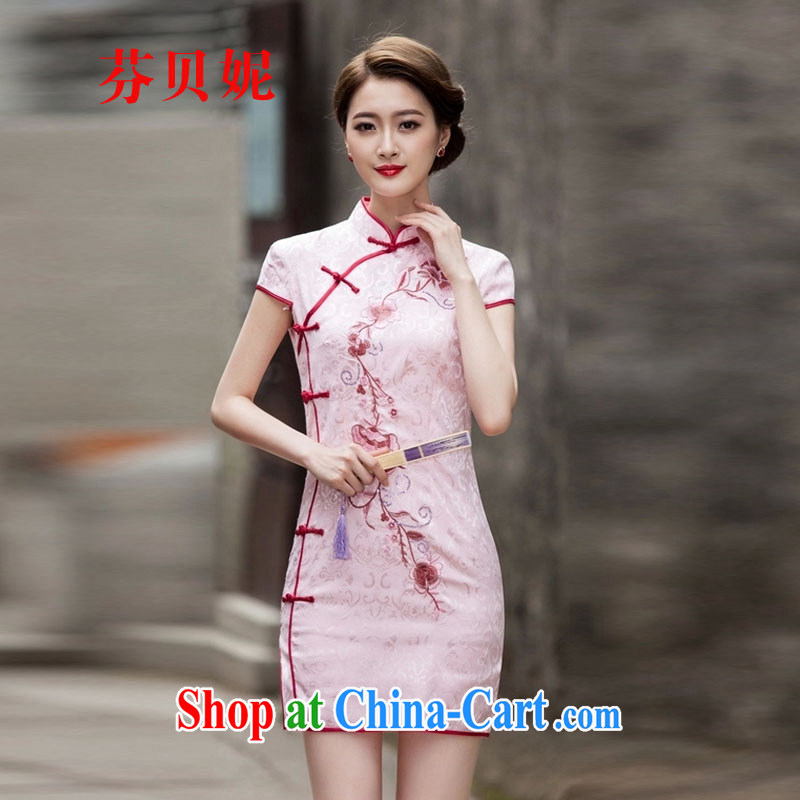 ADDIS ABABA, Connie 2015 spring and summer New Tang with retro improved stylish short, cultivating daily cheongsam dress Q 1124 pink XXL