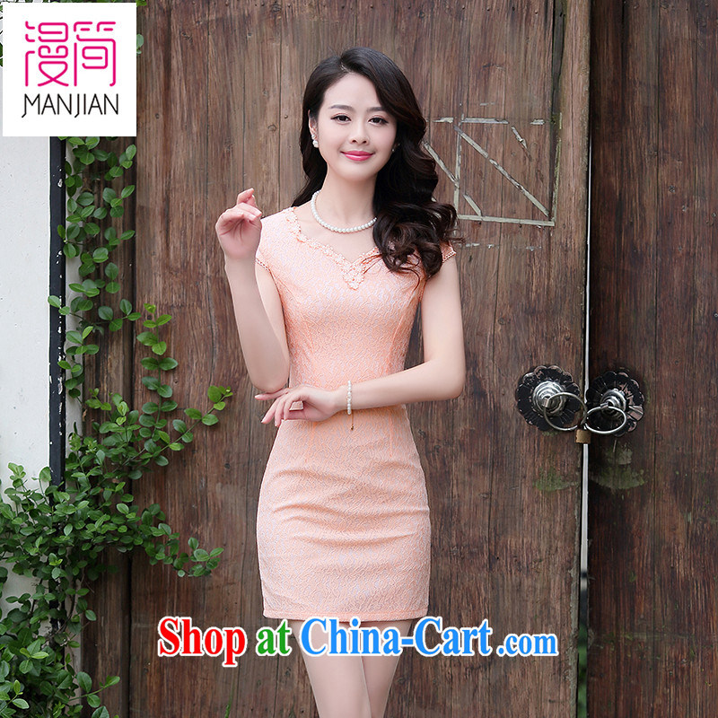 Spread in short 2015 summer wear cheongsam dress short-sleeved solid color name Yuan daily lace improved beauty package and short skirt pink XXL