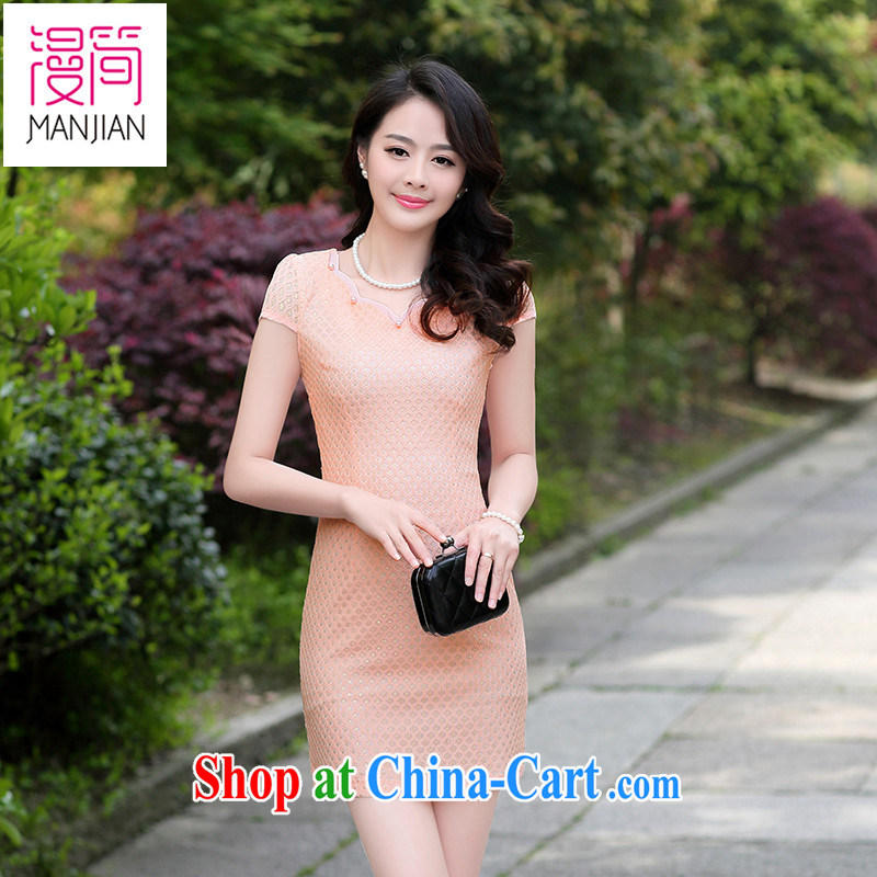 Animated short 2015 summer New Name-yuan Chinese style female short-sleeve beauty package and dresses lace improved cheongsam pink XXL