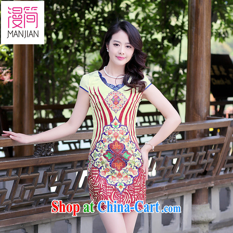 Animated short dresses 2015 new summer women cheongsam dress short-sleeved beauty stamp National wind retro package and short skirts red ripple XXL