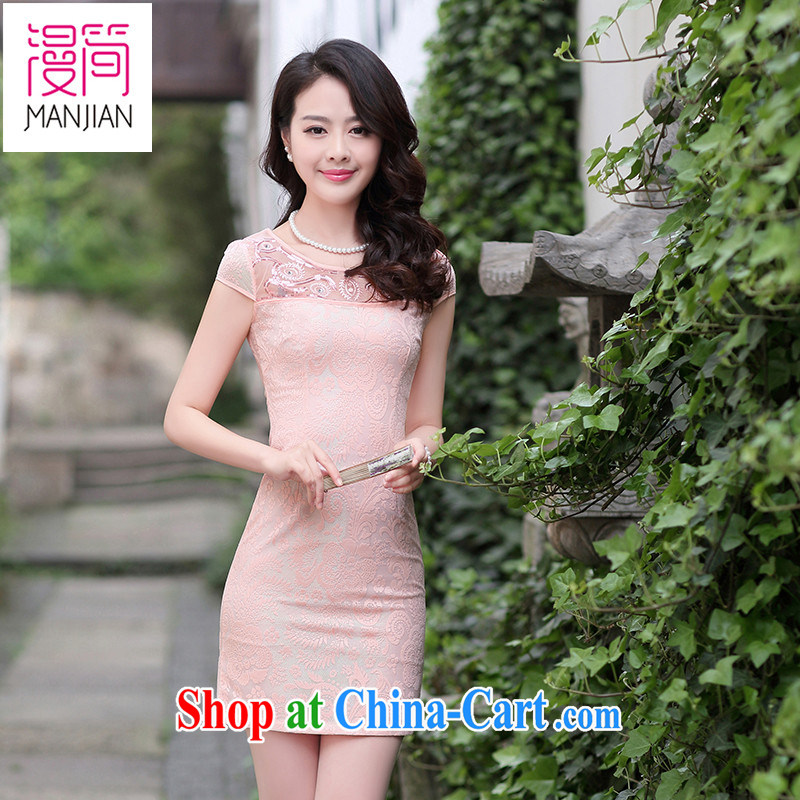 Animated short lace cheongsam short skirts of Yuan Solid Color embroidery Chinese short-sleeved dresses beauty daily Summer Package and pink XXL