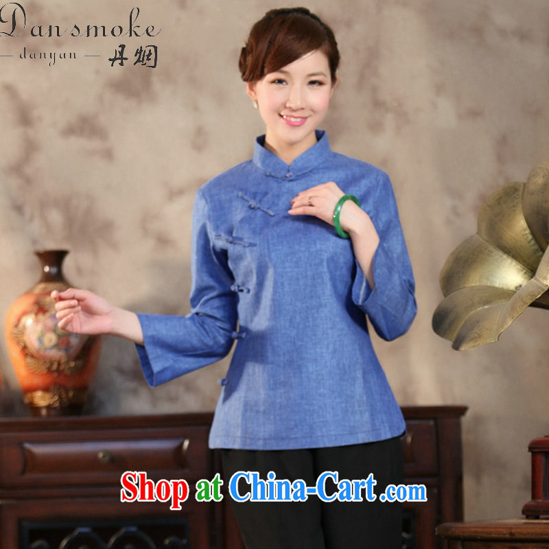 Dan smoke antique Chinese cotton Ms. Ma is a tight beauty Book Fragrance solid-colored Chinese, for improved Chinese literary T-shirt such as the color 2 XL