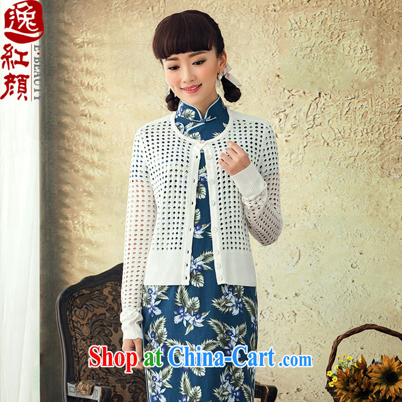 once and for all and fatally jealous of Mitsubishi retro Ethnic Wind long-sleeved spring 2015, gross knitting T-shirt girl, the Netherlands solid jacket white L