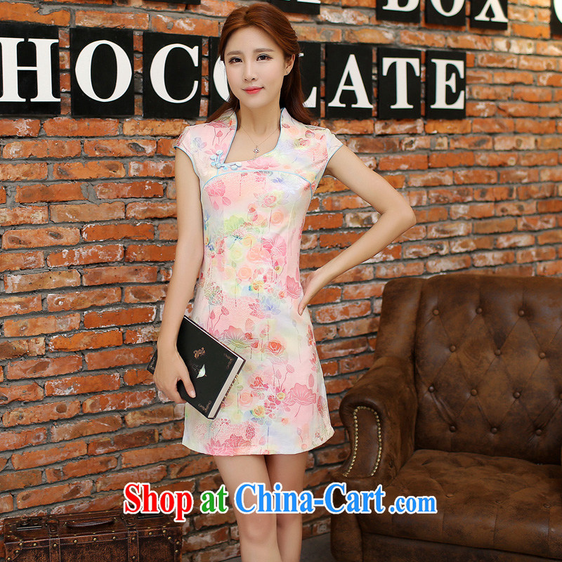 Dresses 2015 spring and summer with short, daily improved short-sleeved jacquard ice silk and cotton cultivation, cheongsam dress 9121 pink M